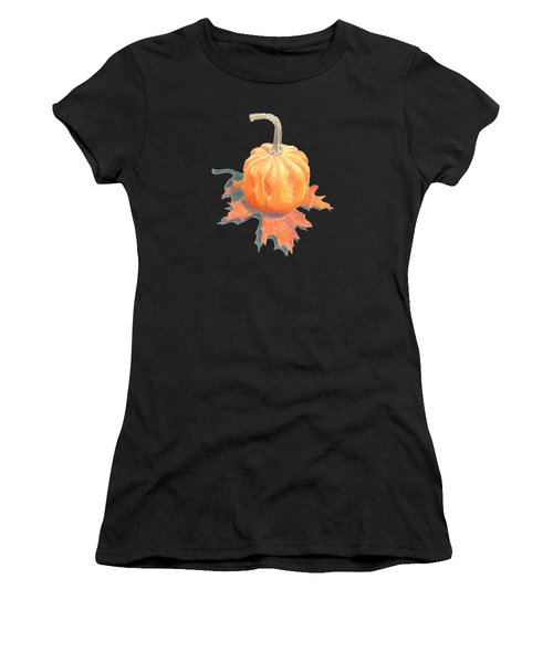 Miniature Pumpkin On Oak Leaf Still Life Women's T-Shirt (Athletic Fit)