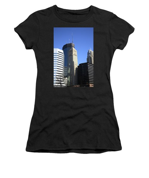 Women's T-Shirt (Junior Cut) featuring the photograph Minneapolis Skyscrapers 12 by Frank Romeo