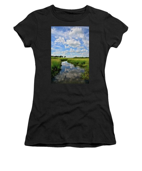 Mirror Image Of Clouds In Glacial Park Wetland Women's T-Shirt (Athletic Fit)