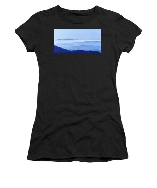 Women's T-Shirt (Athletic Fit) featuring the photograph Misty Blue Mountain Panorama by Geoff Smith