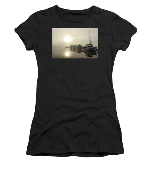 Women's T-Shirt featuring the photograph Misty Marina by Heather Kenward