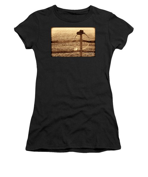 Misty Morning At The Ranch Women's T-Shirt