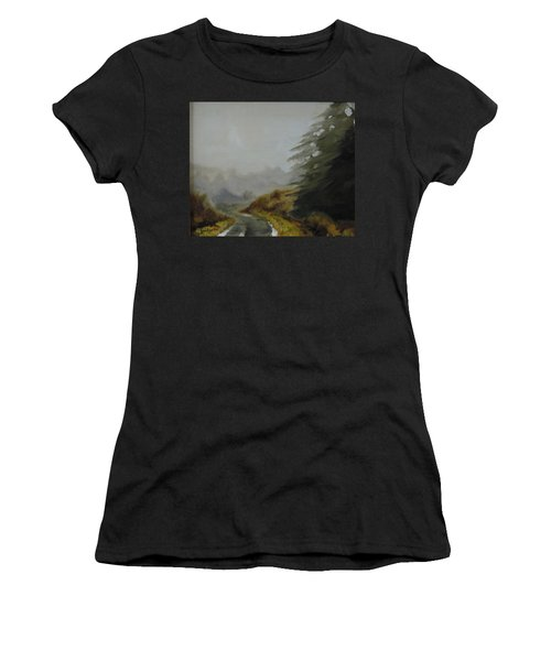 Women's T-Shirt (Junior Cut) featuring the painting Misty Morning, Benevenagh by Barry Williamson