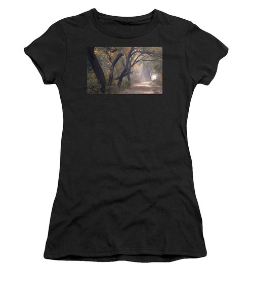 Women's T-Shirt featuring the photograph Misty Morning, Bharatpur, 2005 by Hitendra SINKAR