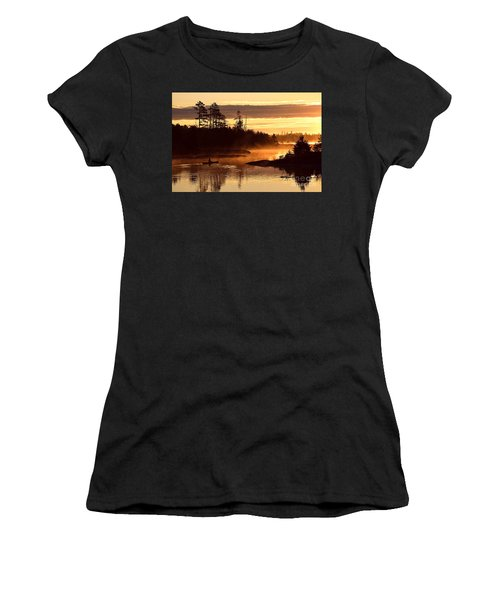 Women's T-Shirt (Junior Cut) featuring the photograph Misty Morning Paddle by Larry Ricker