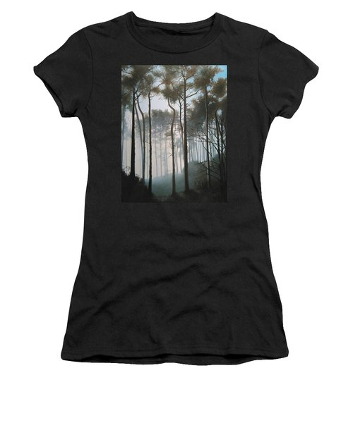 Women's T-Shirt featuring the painting Misty Morning Walk by Caroline Philp