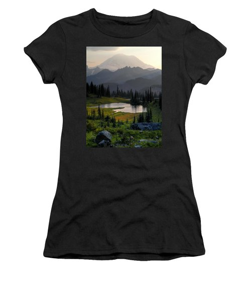 Misty Rainier At Sunset Women's T-Shirt (Junior Cut) by Peter Mooyman