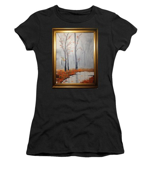 Misty Stream In Autumn Women's T-Shirt (Athletic Fit)