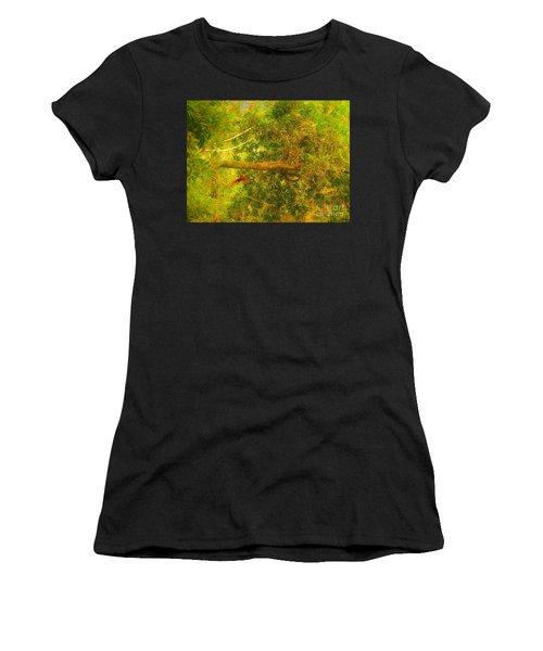 Misty Yellow Hue- Ringed Kingfisher In Flight Women's T-Shirt