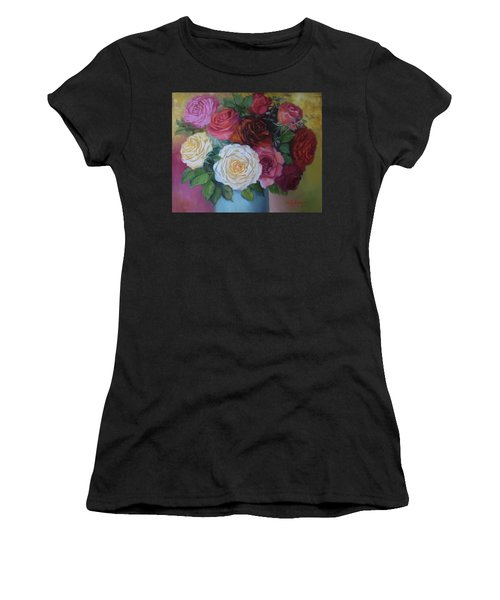 Mixed Roses In Turquoise Vase Women's T-Shirt (Athletic Fit)