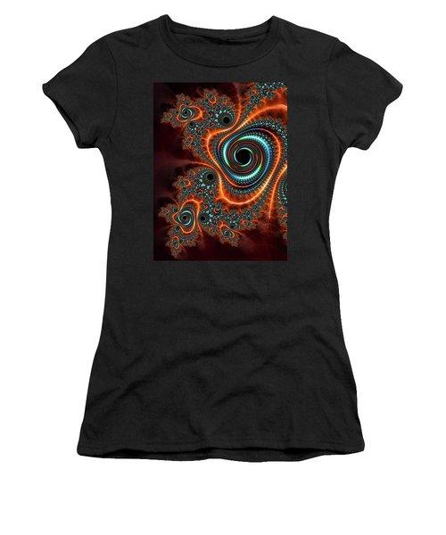 Women's T-Shirt featuring the digital art Modern Abstract Fractal Art Orange Cyan by Matthias Hauser