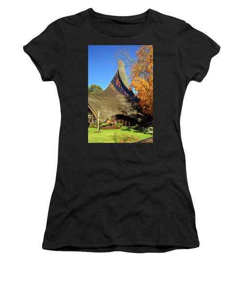 Modern New England Church In Fall Women's T-Shirt (Athletic Fit)