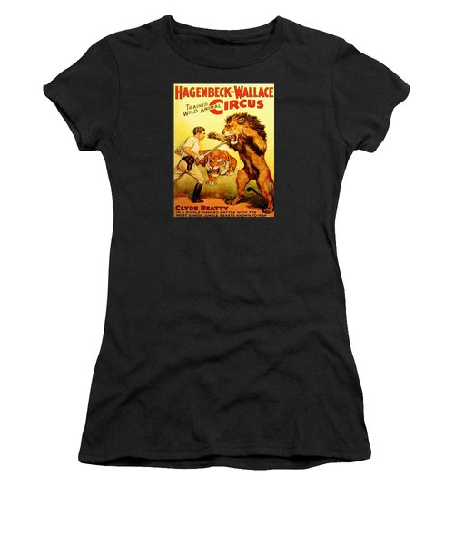 Women's T-Shirt featuring the digital art Modern Vintage Circus Poster by ReInVintaged
