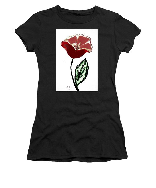 Women's T-Shirt (Junior Cut) featuring the drawing Modernized Flower by Marsha Heiken