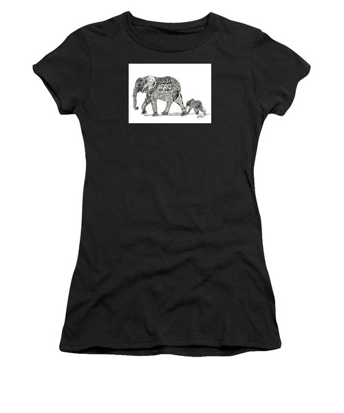 Momma And Baby Elephant Women's T-Shirt (Athletic Fit)
