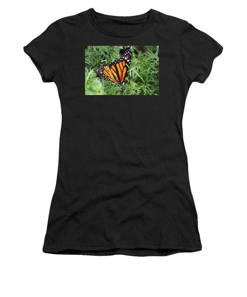 Monarch Butterfly In Lush Leaves Women's T-Shirt (Athletic Fit)
