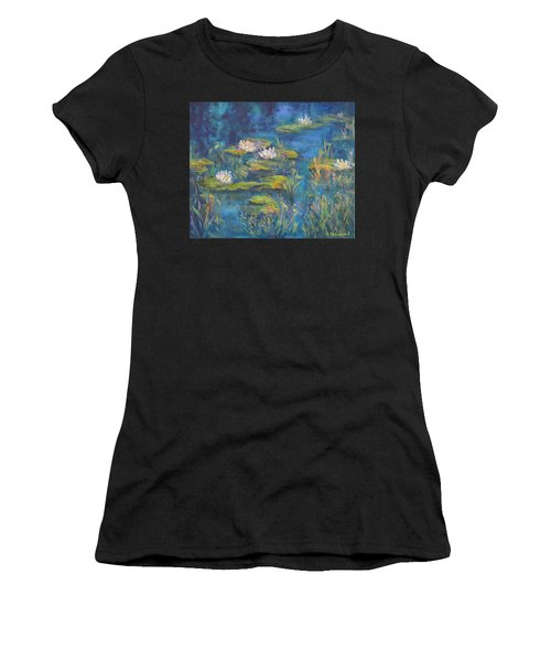Monet Style Water Lily Marsh Wetland Landscape Painting Women's T-Shirt
