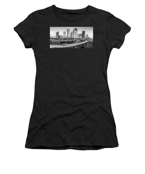 Monochrome Panorama Of Downtown Houston Skyline From Buffalo Bayou Park - Harris County Houston Texa Women's T-Shirt