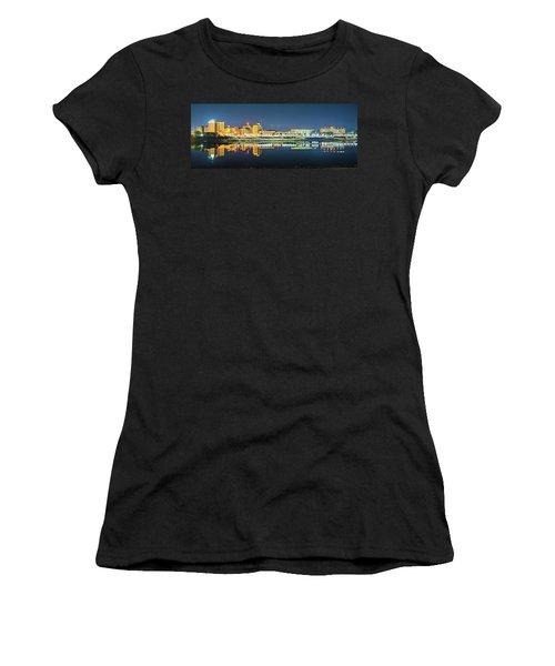 Monroe Louisiana City Skyline At Night Women's T-Shirt
