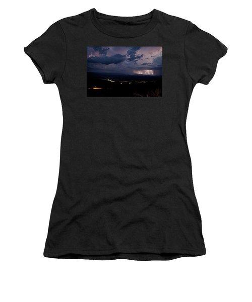 Monsoon Lightning Over Sedona From Jerome Az Women's T-Shirt