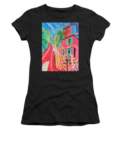 Montmartre Cafe In Paris Women's T-Shirt (Athletic Fit)