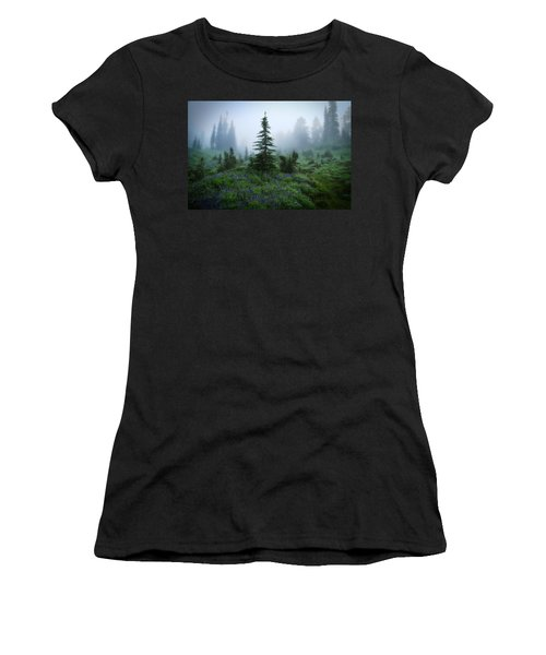 Moody Myrtle Falls Trail At Mount Rainier Women's T-Shirt (Athletic Fit)