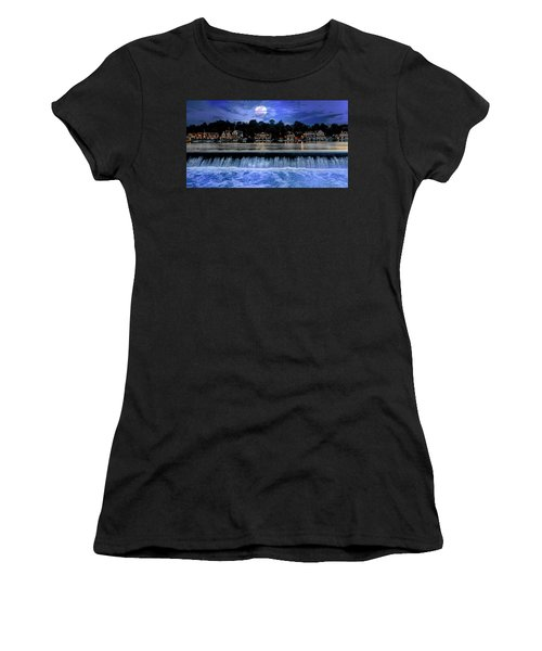 Women's T-Shirt featuring the photograph Moon Light - Boathouse Row Philadelphia by Bill Cannon