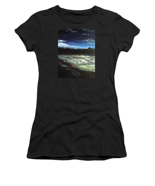 Women's T-Shirt (Junior Cut) featuring the painting Moon Lit Sea by Dan Whittemore