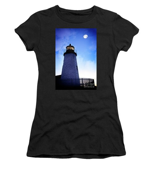 Moon Over Lighthouse Women's T-Shirt