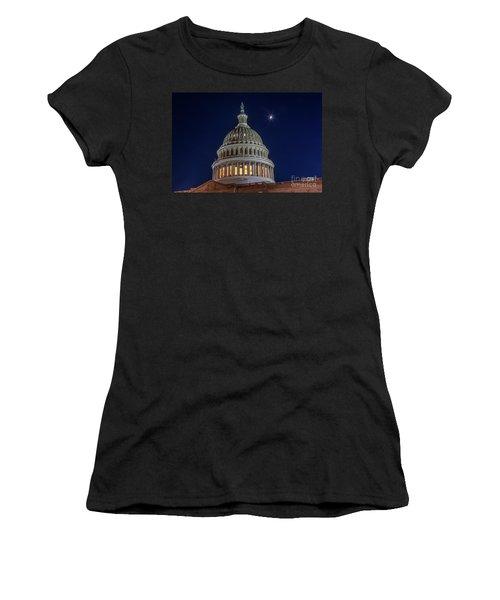 Moon Over The Washington Capitol Building Women's T-Shirt