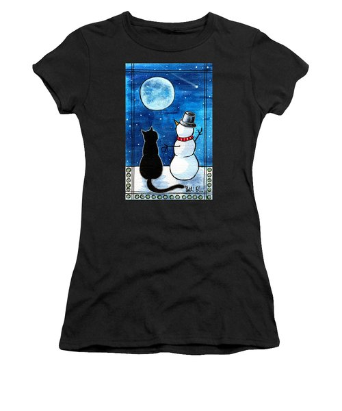 Moon Watching With Snowman - Christmas Cat Women's T-Shirt (Athletic Fit)