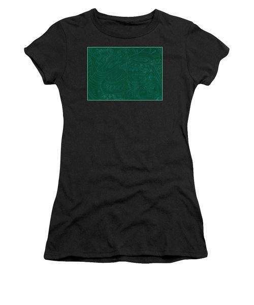 Moonfish Drawing Negative Green Chalk Women's T-Shirt (Athletic Fit)