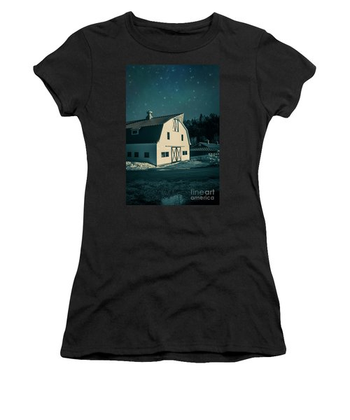 Women's T-Shirt (Athletic Fit) featuring the photograph Moonlight In Vermont by Edward Fielding