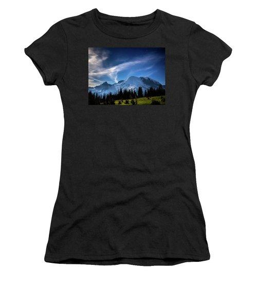 Moonlight On Mt Rainier Women's T-Shirt