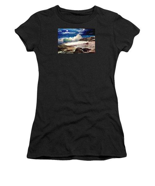 Moonlight On The Beach Women's T-Shirt (Junior Cut) by Ron Chambers