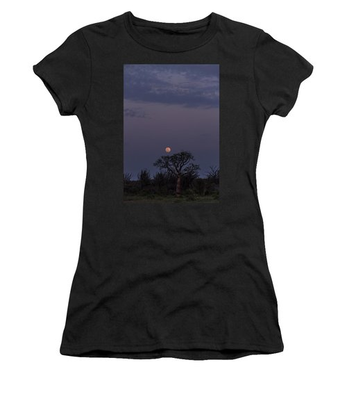 Women's T-Shirt (Athletic Fit) featuring the photograph Moonrise With Baobab And Octopus Trees by Alex Lapidus