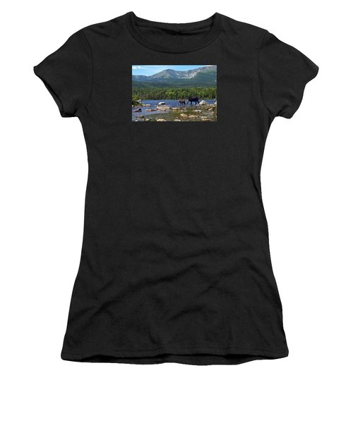 Moose Baxter State Park Maine 2 Women's T-Shirt (Athletic Fit)