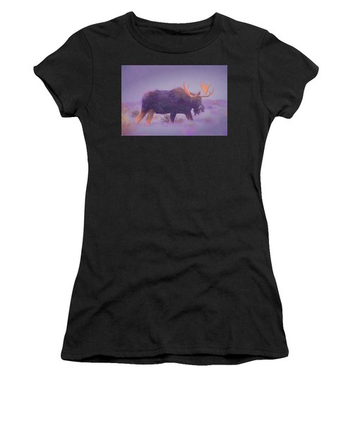 Moose In A Blizzard Women's T-Shirt