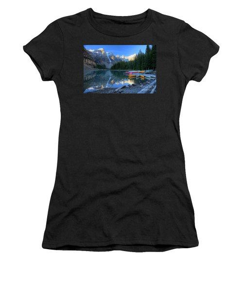Moraine Lake Sunrise Blue Skies Canoes Women's T-Shirt