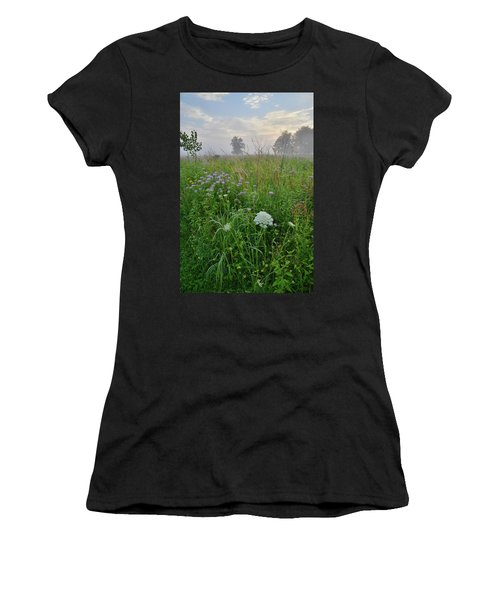 Morning Fog Over Glacial Park Prairie Women's T-Shirt (Athletic Fit)