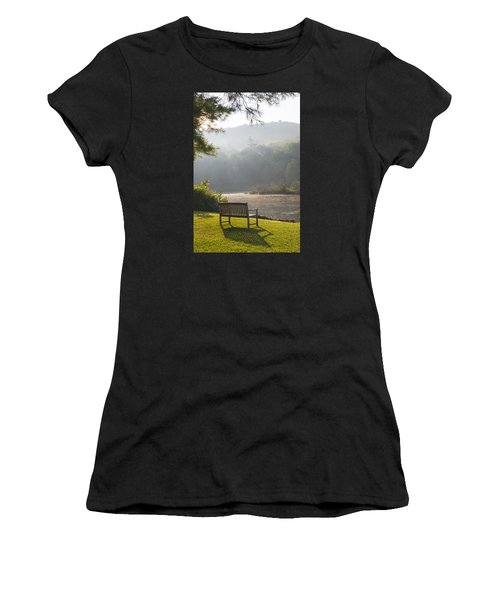 Morning Rays On The Pond And Bench Women's T-Shirt (Athletic Fit)