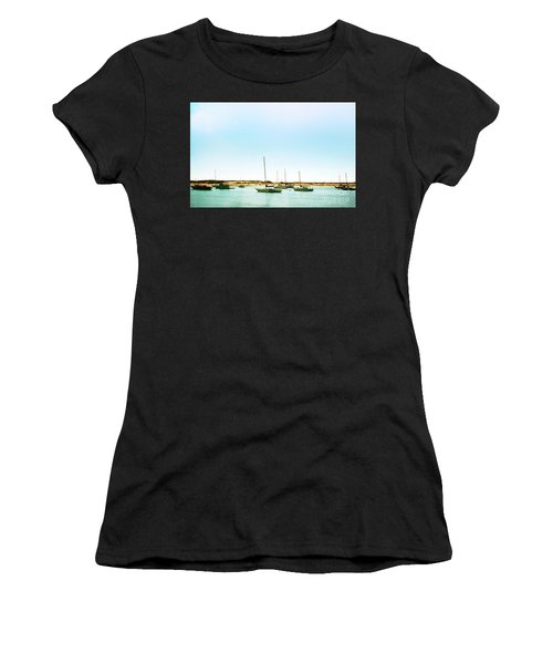 Moro Bay Inlet With Sailboats Mooring In Summer Women's T-Shirt (Athletic Fit)