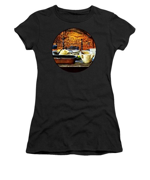Mortar And Pestles In Colonial Kitchen Women's T-Shirt (Junior Cut) by Susan Savad
