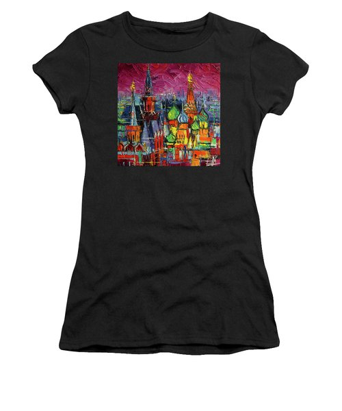 Moscow Red Square View Textural Impressionist Stylized Cityscape Women's T-Shirt