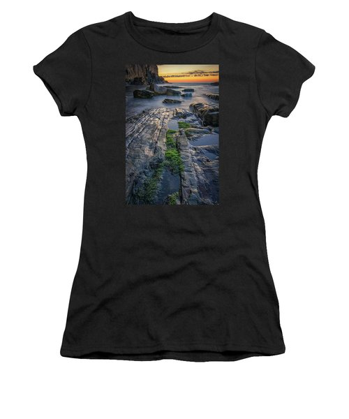 Mossy Rocks At Bald Head Cliff  Women's T-Shirt