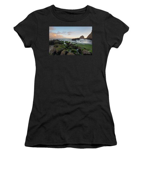 Mossy Rocks At The Beach Women's T-Shirt