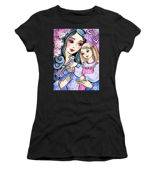 Women's T-Shirt featuring the painting Mother And Daughter In Blue by Eva Campbell