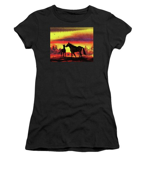 Women's T-Shirt (Athletic Fit) featuring the painting Mother's Love - Two Horses by Irina Sztukowski