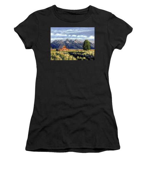 Moulton Barn At The Grand Tetons Women's T-Shirt (Athletic Fit)
