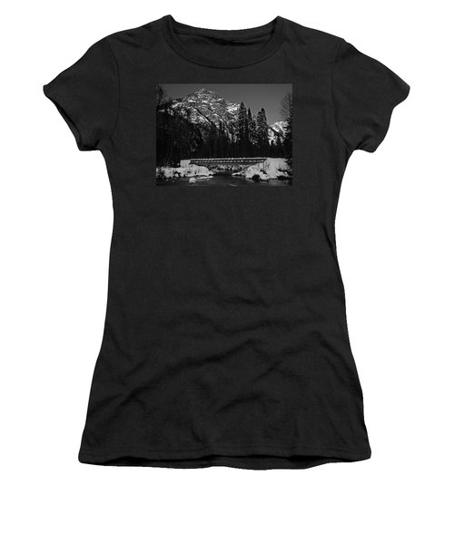Mountain And Bridge Black And White Women's T-Shirt
